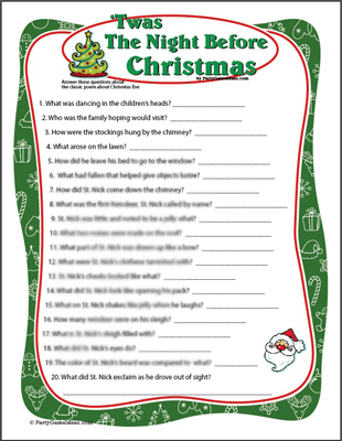 Twas the Night Before Christmas Game - Printable Game