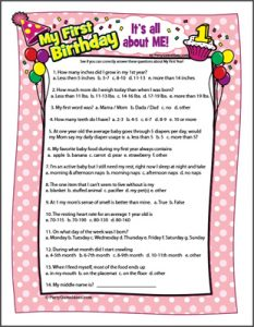 Baby's 1st Birthday Trivia Game - First Birthday Party