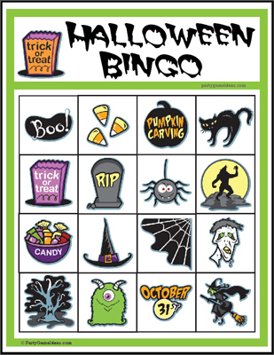 Printable 4x4 Halloween Image Bingo Games for Kids