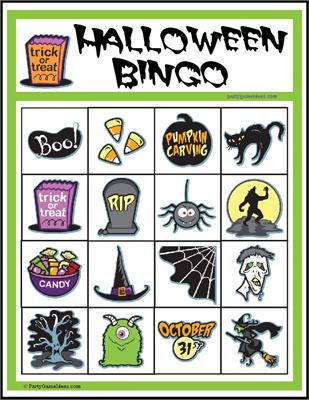 Printable 4x4 Halloween Image Bingo Games for Kids