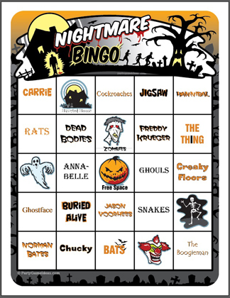 Nightmare Bingo - Printable Halloween Bingo Game