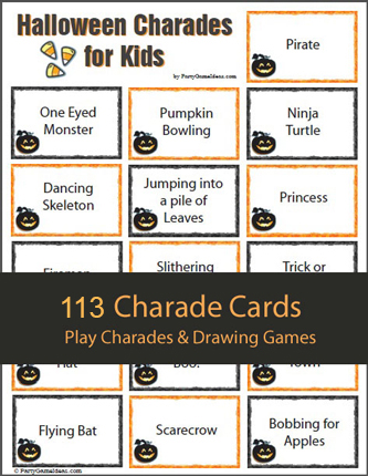 Kids Halloween Charades Ideas and Cards