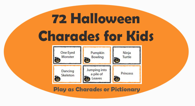 picture relating to Charades for Kids Printable known as 72 Halloween Charades for Youngsters - Printable Charades Game titles
