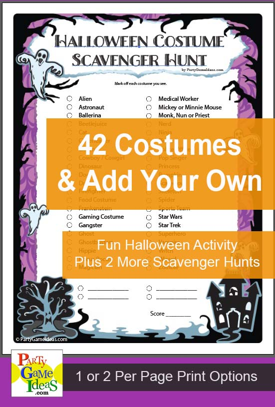 Halloween Costume Scavenger Hunt Printable Game Activity