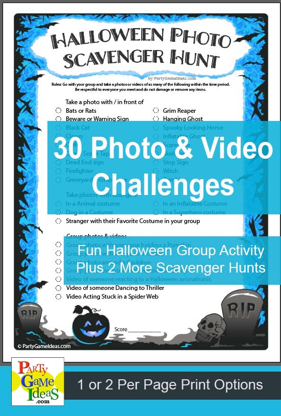 Halloween Photo Scavenger Hunt Printable Group Party Game Activity
