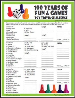 Printable Toy Trivia Game for Christmas, Birthday Parties