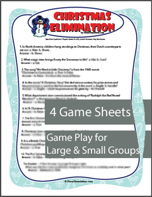 Christmas Elimination Trivia Game - Printable Party Game
