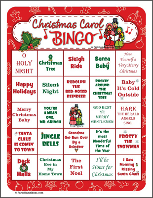 Christmas Carol Bingo - Printable Bingo Games
