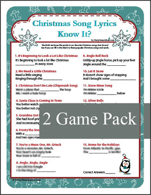 printable christmas song lyrics christmas carol game