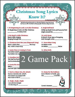 Printable Christmas Song Lyrics - Christmas Carol Game