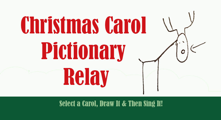 graphic about Christmas Song Scramble Free Printable named Xmas Carol Pictionary Relay - Trip Celebration Activity