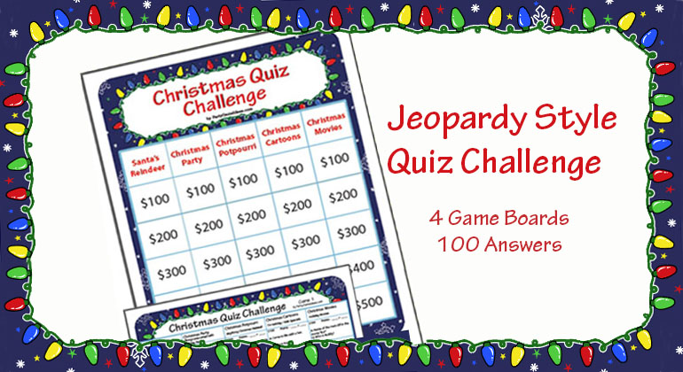 Christmas Quiz Challenge Printable Jeopardy Style Quiz Game