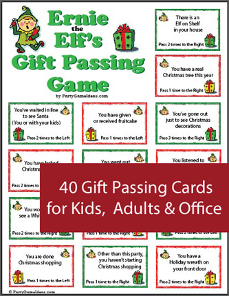 Ernie the Elf\'s Gift Passing Game - Printable Christmas Game