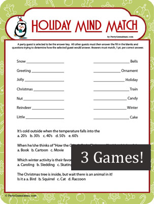 Holiday Mind Match - Christmas Finish My Phrase Game