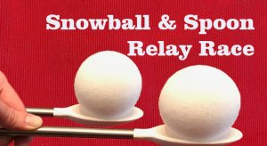 Snowball and Spoon Relay Race - Kids Christmas Party Game