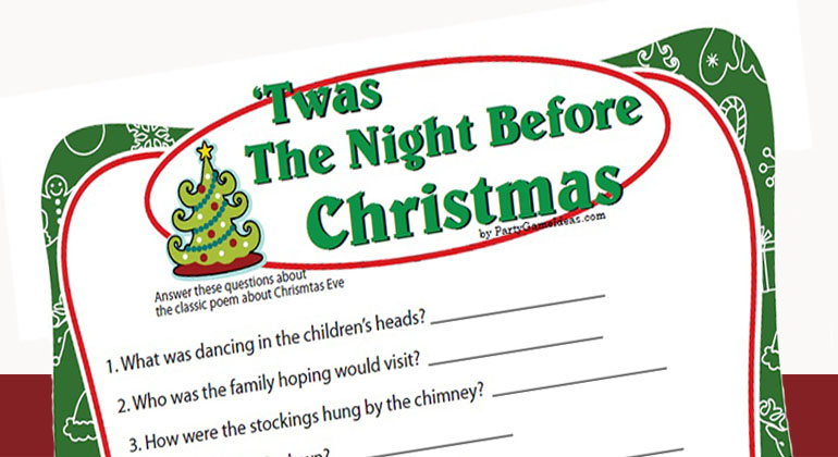 graphic about Printable Christmas Games With Answers referred to as Twas the Night time Just before Xmas Activity - Printable Sport