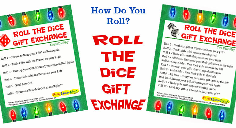 Christmas Gift Exchange Dice Game Printable.Roll The Dice Gift Exchange Games