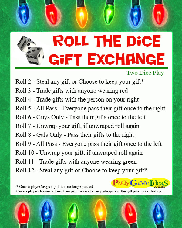 Roll the Dice Gift Exchange Games