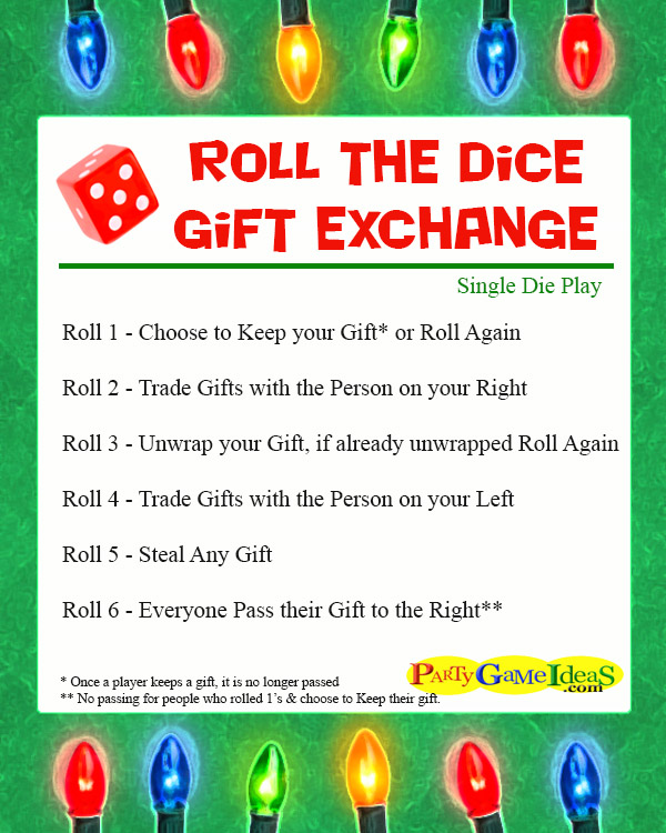roll the die gift exchange