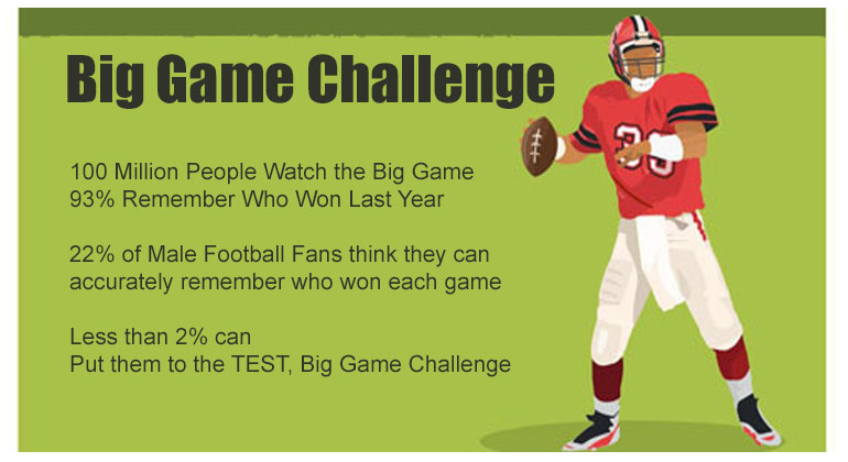 Big Game Football Trivia Game 2019