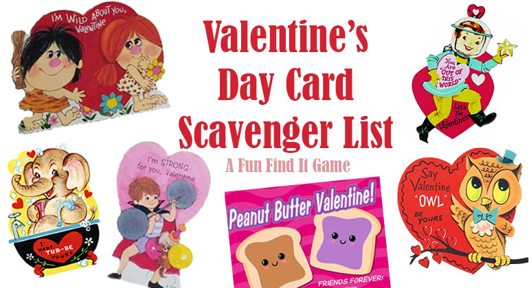 Valentines Day Card Scavenger List