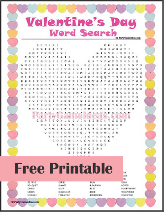 Free Valentines Day Word Search - Printable Game