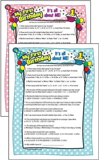 First Birthday Quiz Babys 1st Birthday Game