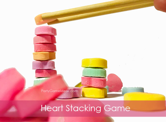 Conversation Hearts Stacking Game - Kids Valentines Day Party Game