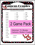 Printable Famous Couples Trivia Game - Valentines Day