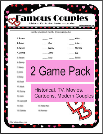 Printable Famous Couples Trivia Games - Bridal Shower, Valentine's Day
