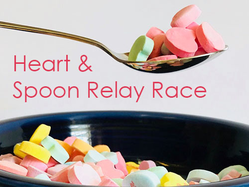 Candy Hearts Spoon Relay Race - Valentines Day Kids Party Game