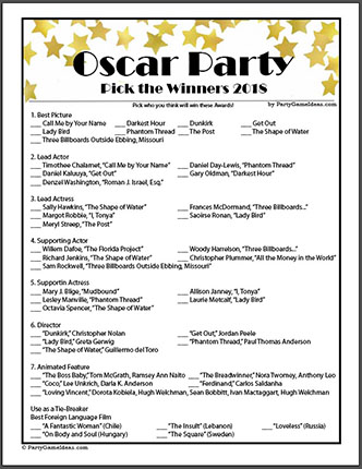 Pick the Oscar Winners Game