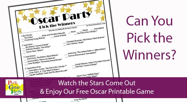 Free Pick Oscar Winners Sheet 2021