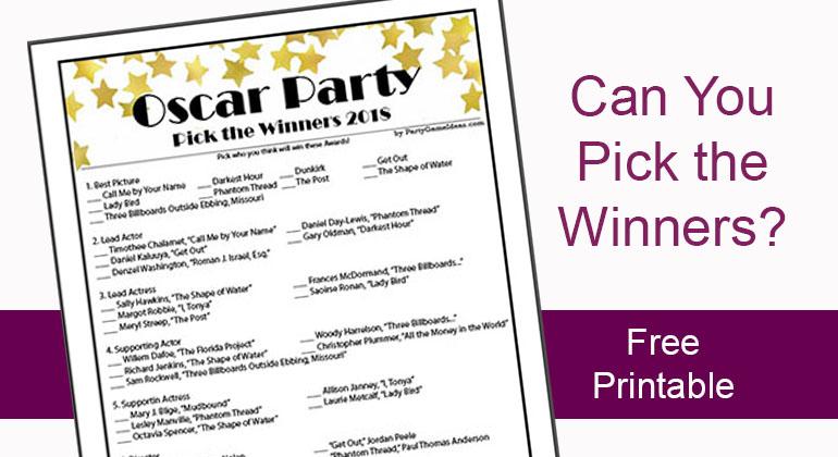 Free Pick Oscar Winners Sheet