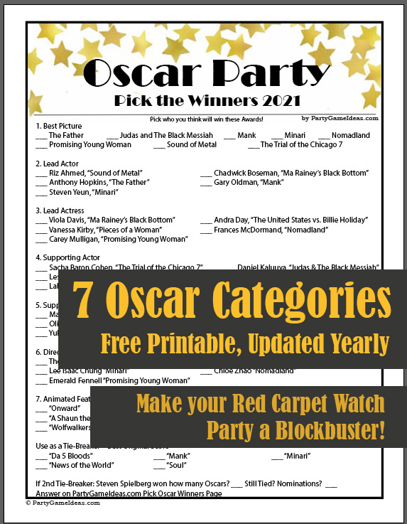Printable Oscars Pick the Winners Game for Academy Awards Parties