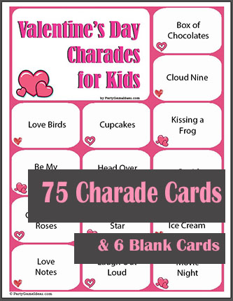 Printable Valentines Day Charades for Kids