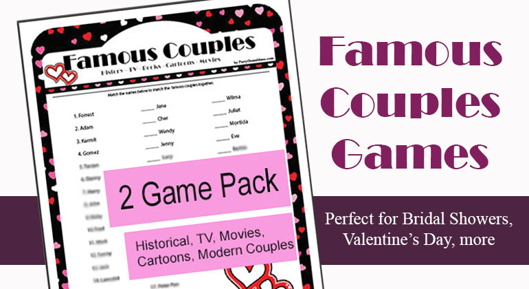 photo relating to Printable Games for Couples known as Printable Renowned Partners Trivia Activity - Valentines Working day