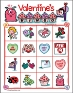 Kid's Valentines Image Bingo Game for Preschool, Young Children