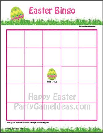Blank Easter Bingo Card - DIY Bingo