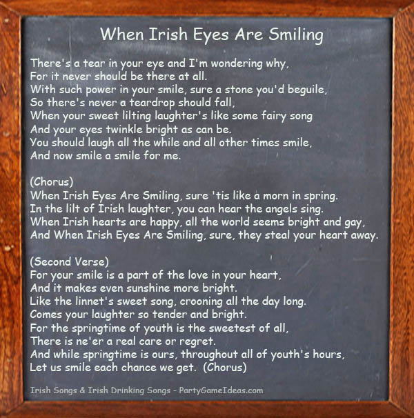 When Irish Eyes Are Smiling - Song Lyrics