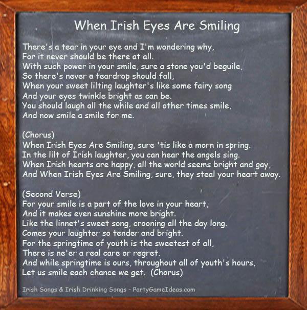 When Irish Eyes Are Smiling - Song Lyrics