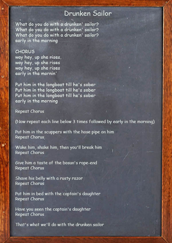 Drunken Sailor - Irish Song Lyrics