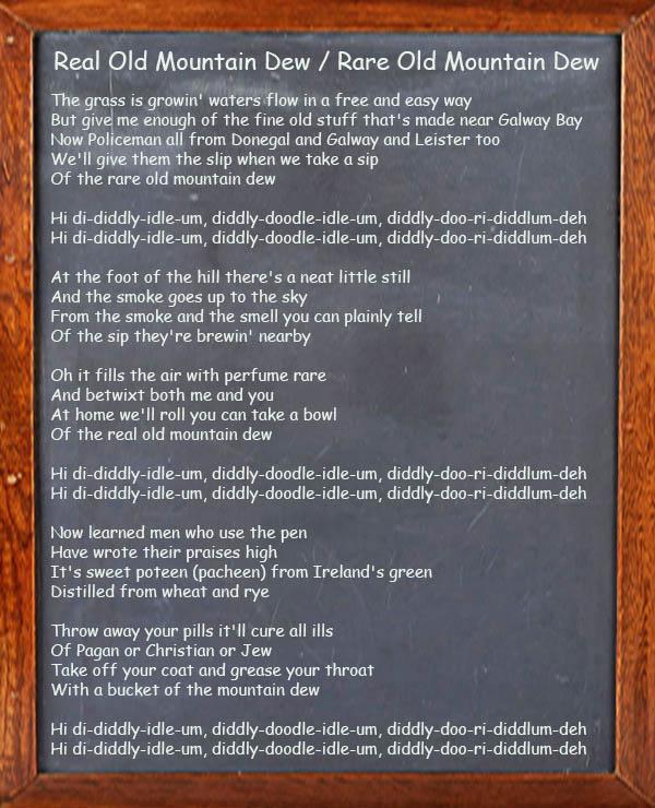 Rare / real Old Mountain Dew Song Lyrics
