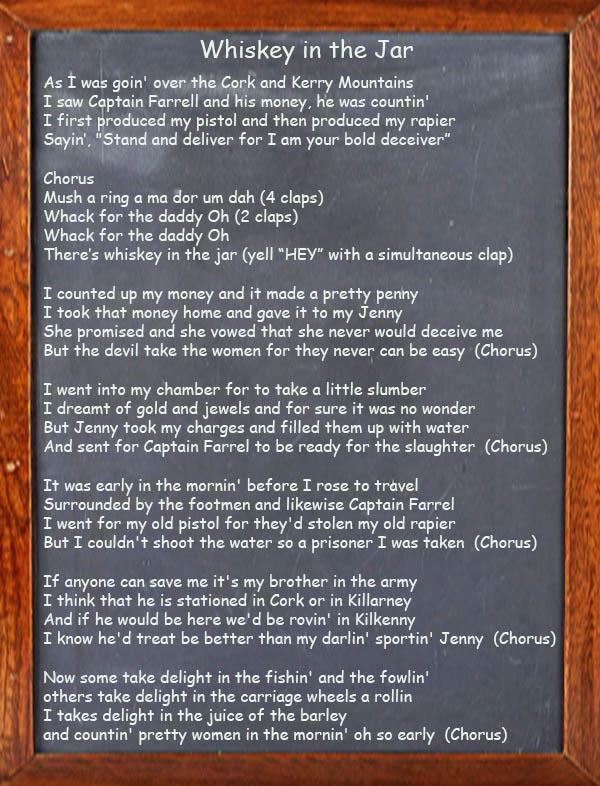 Whiskey in the Jar - Irish Song Lyrics