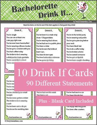Printable Bachelorette Drink If Game