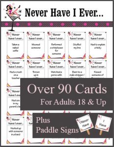 Printable Never Have I Ever Game - Bachelorette, Girls Night, Bridal Shower Game
