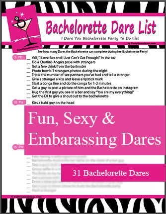 Bachelorette Dares - Dare Checklist for Bachelorette Parties, Bar Games