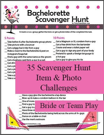 Bachelorette Scavenger Hunt - Bachelorette Party