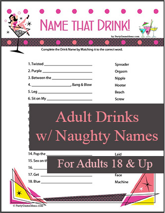 Printable Name that Drink - Girls Night, Bachelorette Party, Bridal Shower Game
