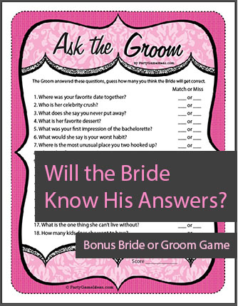 Ask the Groom Game, Groom Quiz